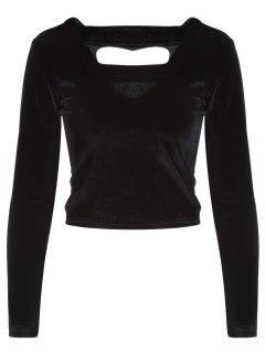 Découpez Out Pleuche T-shirt - Noir