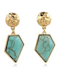 Faux Turquoise Irregular Geometric Earrings - Green