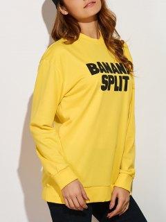 Crew Neck Letter Sweatshirt - Yellow M