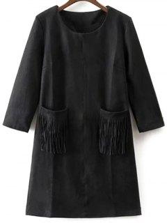 Fringed Pockets Faux Suede Dress - Black M