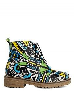 Patchwork Flat Heel Tie Up Ankle Boots - Jade Green 39
