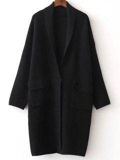 Cardigan Un Bouton A Col Châle Avec Fente A L'arrière   - Noir