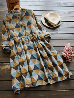Geometric Print Long Sleeves Checked Shirt Dress