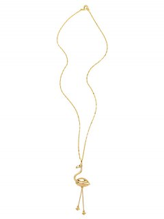 Shiny Gold Plated Swan Sweater Chain - Golden