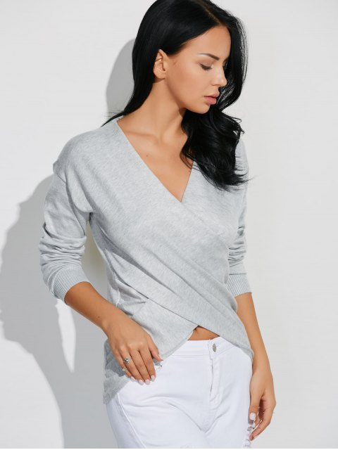 shops Front Cross Sweater - GRAY ONE SIZE Mobile