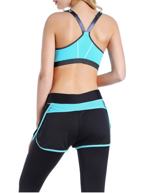 women Push Up Front Zipper Sporty Bra - AZURE M Mobile