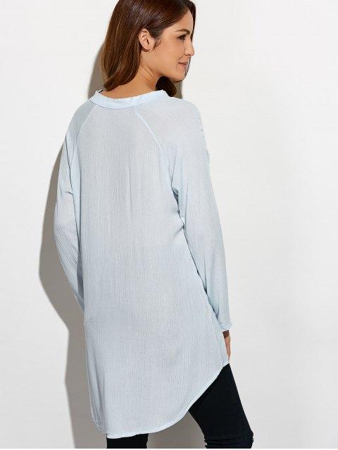 latest Crinkly Three Quarter Sleeve Shirt Dress - PALE GREEN L Mobile