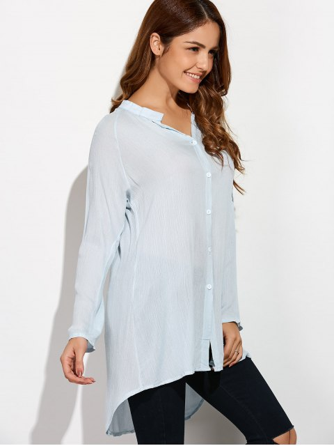 fashion Crinkly Three Quarter Sleeve Shirt Dress - PALE GREEN S Mobile