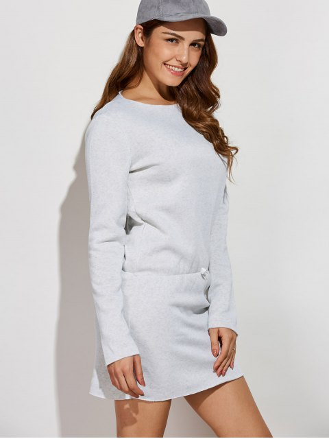 affordable Long Sleeve Drawstring Mini Sweatshirt Dress - GRAY XL Mobile