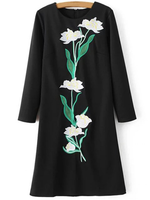 women Floral Embroidery Sheath Dress - BLACK S Mobile
