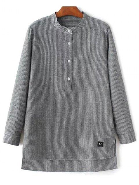 unique Slit Stripe High-Low Shirt - GRAY M Mobile