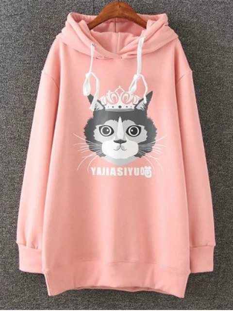 shop Plus Size Fleece Cartoon Cat Print Hoodie - PINK 2XL Mobile