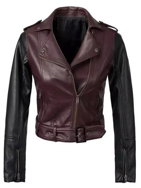fashion Color Block PU Leather Zippered Biker Jacket - WINE RED M Mobile