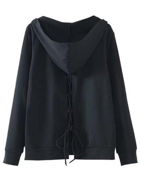 buy Back Lace Up V Neck Hoodie - BLACK L Mobile