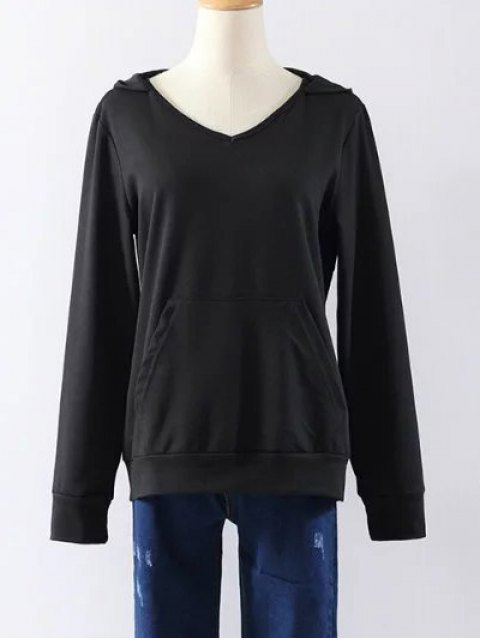 womens Back Lace Up V Neck Hoodie - BLACK M Mobile