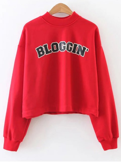 shop Mock Neck Graphic Cropped Sweatshirt - RED M Mobile