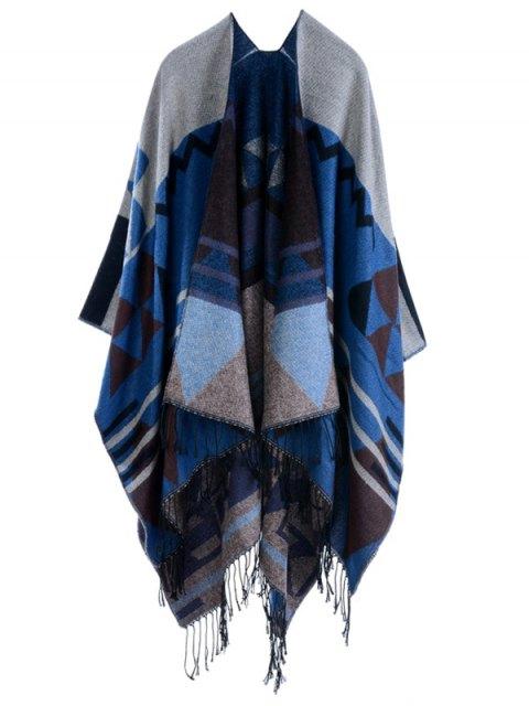 trendy Travel Geometry Pattan Tassel Pashmina Poncho - PURPLISH BLUE  Mobile