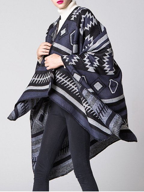 ladies Soft Warm Geometry Splicing Pashmina Poncho - CADETBLUE  Mobile