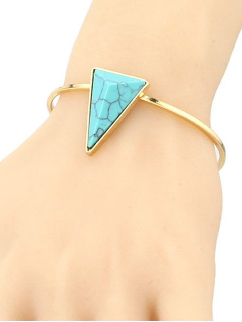 women Faux Turquoise Triangle Cuff Bracelet - GREEN  Mobile