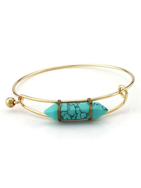 ladies Vintage Natural Stone Bullet Shape Bracelet - GREEN  Mobile