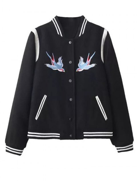best Snap Button Embroidered Baseball Jacket - BLACK L Mobile