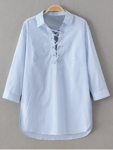 unique Long Sleeve Striped Lace Up Blouse - BLUE AND WHITE L Mobile