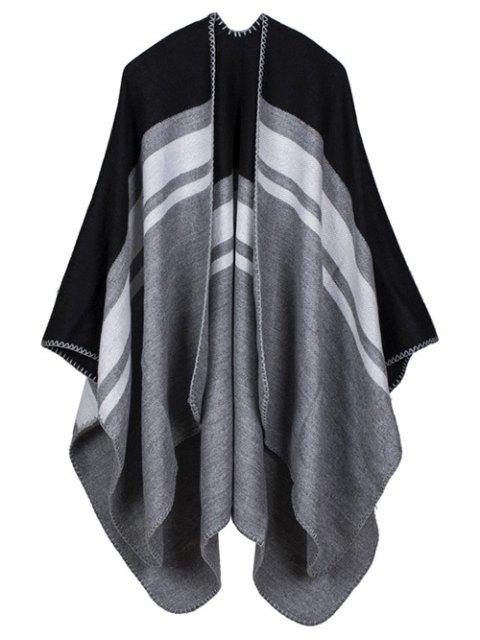 new Warm Stripe Splicing Print Double Side Scarf Pashmina - BLACK  Mobile