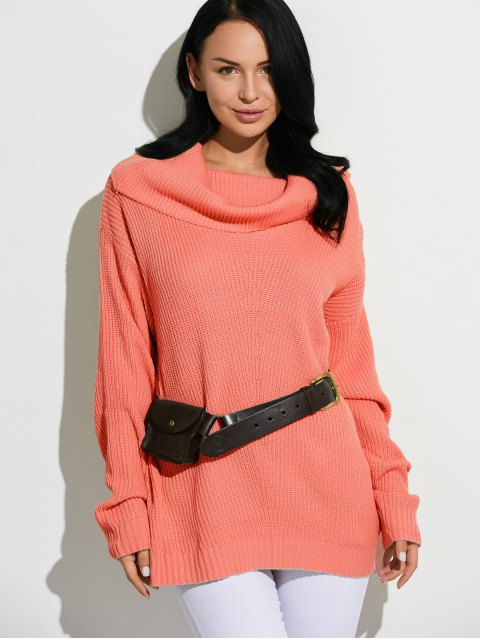 latest Cowl Neck Chunky Knit Sweater - JACINTH ONE SIZE Mobile