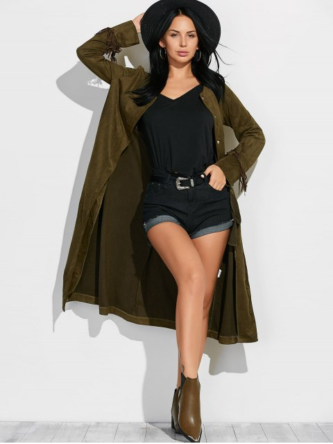 women's Fringe Suede Maxi Coat - ARMY GREEN S Mobile