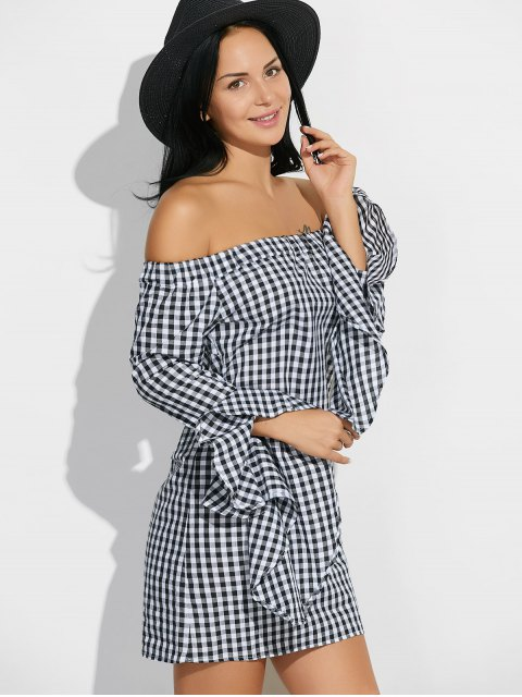 women's Bell Sleeve Off The Shoulder Checked Dress - PLAID M Mobile