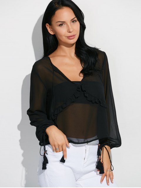 outfits Lantern Sleeve Frilled Sheer Chiffon Top - BLACK 2XL Mobile