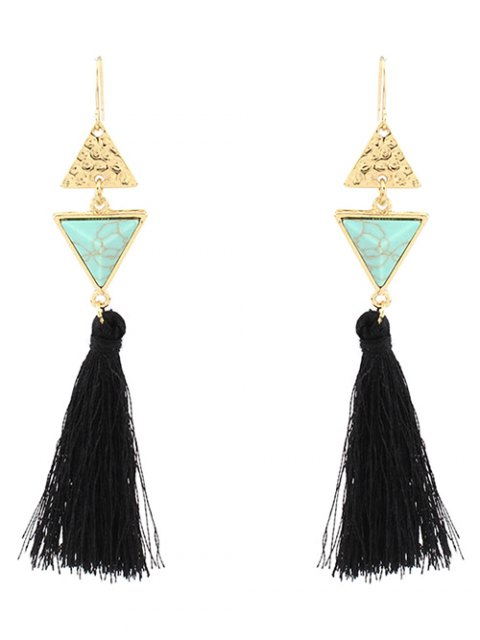 online Artificial Turquoise Tassel Triangle Earrings - GREEN  Mobile