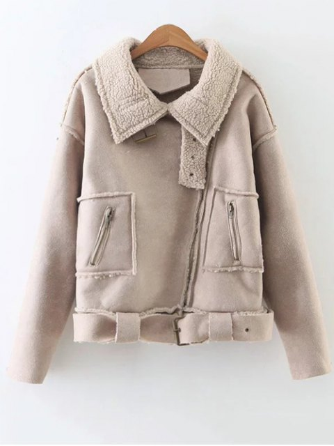 chic Fleece Lined Faux Suede Jacket - NUDE PINK L Mobile