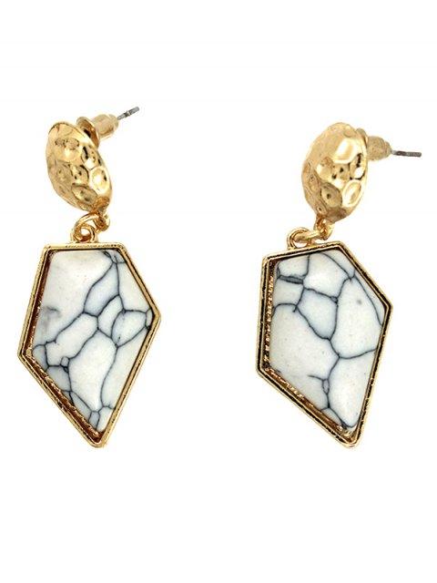 shop Faux Turquoise Irregular Geometric Earrings - WHITE  Mobile