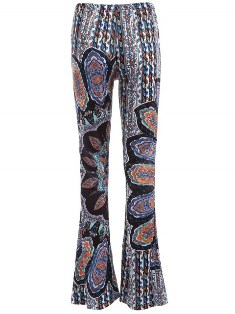 latest Printed Flare Trousers - CYAN AND GREY XL Mobile