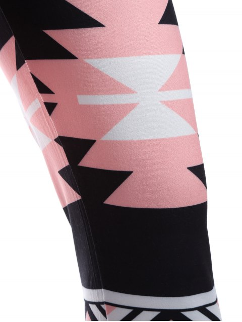 sale Geometric Print Yoga Leggings - BLACK ONE SIZE Mobile