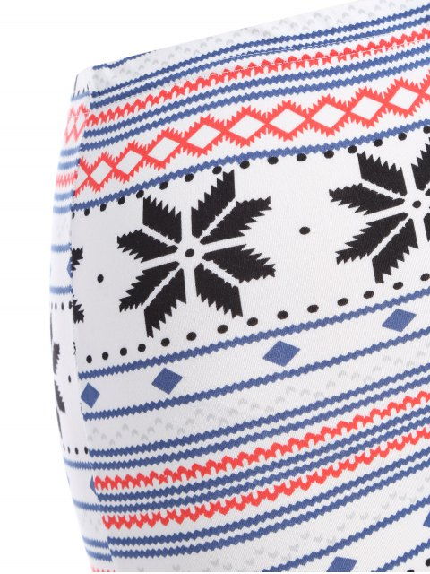 lady Snowflake Print Christmas Leggings - WHITE ONE SIZE Mobile