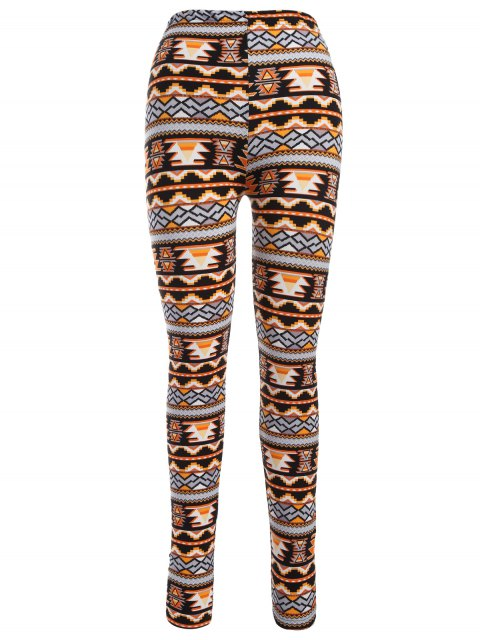 best Printed Christmas Nordic Leggings - ORANGE ONE SIZE Mobile