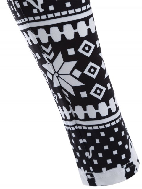 hot Christmas Deer Snowflake Print Leggings - WHITE AND BLACK ONE SIZE Mobile