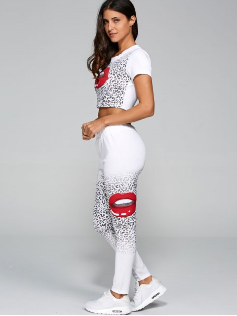buy Mouth Lips Crop Top + Cheetah Pants Set - WHITE XL Mobile