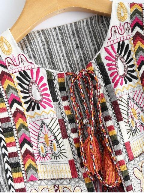 fashion Striped Embroidered Jacket - STRIPE M Mobile