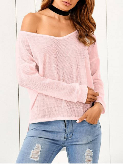 affordable Loose One-Shoulder Sweater - PINK S Mobile