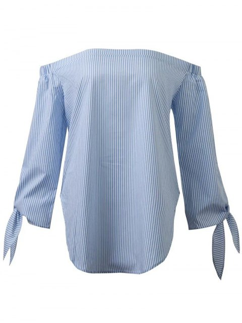 womens Off The Shoulder Top With Sleeve Tie - BLUE M Mobile