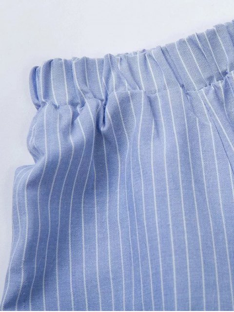 affordable Long Sleeve Off Shoulder Striped Dress - BLUE AND WHITE L Mobile