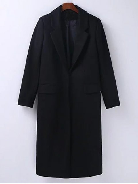 unique Wool Blend Masculine Coat - BLACK S Mobile