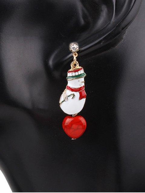 womens Rhinestone Snowman Christmas Earrings - RED  Mobile