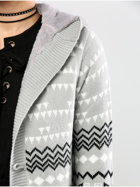 affordable Geometric Horn Button Hooded Cardigan - GRAY M Mobile