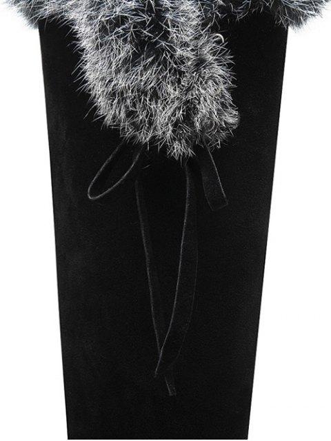 womens Zipper Platform Faux Fur Knee-High Boots -   Mobile