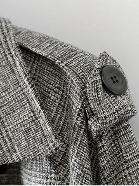 shop Double Breasted Houndstooth Coat - WHITE AND BLACK 2XL Mobile