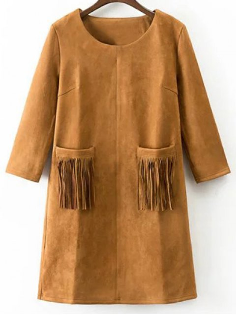 latest Fringed Pockets Faux Suede Dress - EARTHY S Mobile